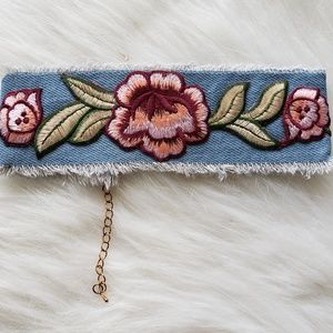 Jewelry - Blue Denim Pink Rose Hipster Embroidered Choker